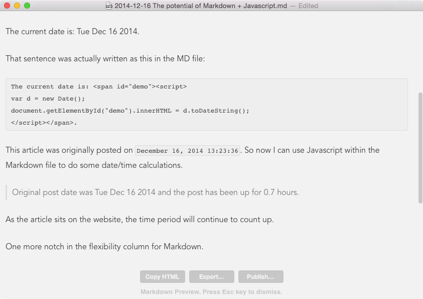 The potential of Markdown + Javascript