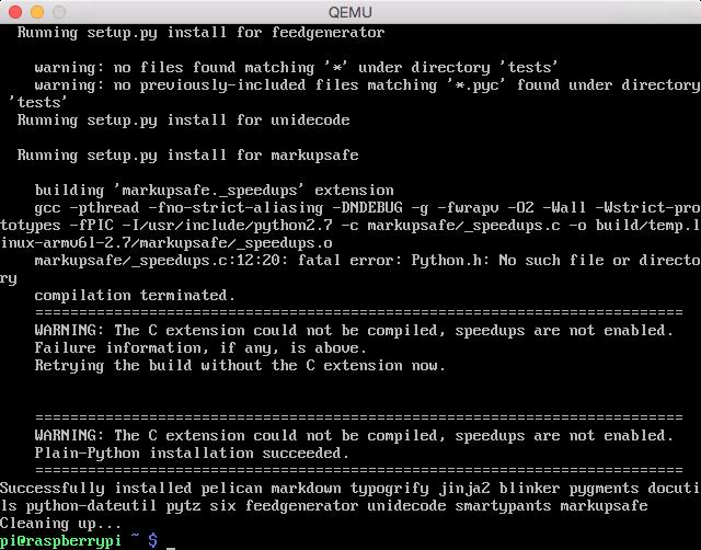 Installing Pelican on Raspberry Pi